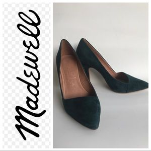 MADEWELL The Mira Suede Heels Gallery Green 7M